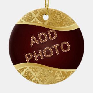 Golden Damask Photo Frame Ornament