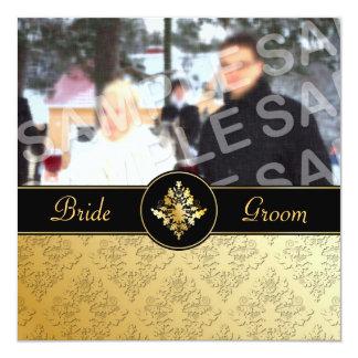 Golden Damask Photo Wedding Invitation