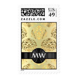 Golden damask postage stamps