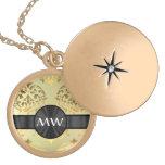Golden damask round locket necklace