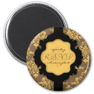 Golden Damask RSVP Magnet