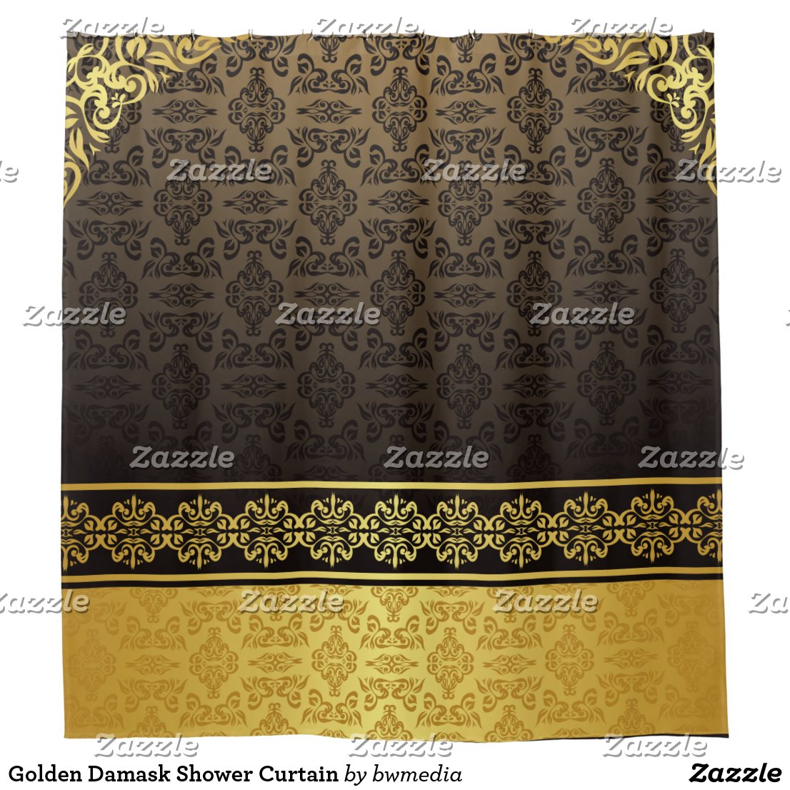 Golden Damask Shower Curtain