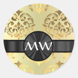 Golden damask classic round sticker