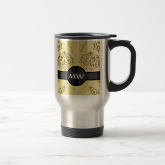 Golden damask travel mug