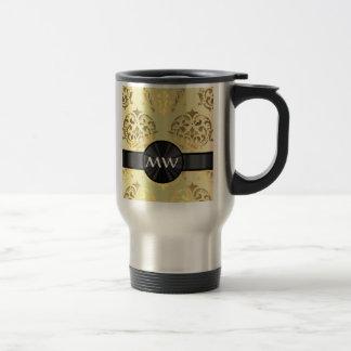 Golden damask travel mug