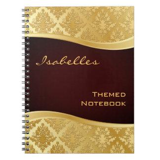 Golden Damask Wave Notebook