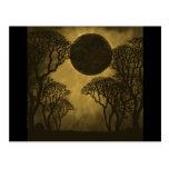 Golden Dark Forest Eclipse Postcard