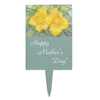 Golden Daylilies Mother's Day Cake Topper