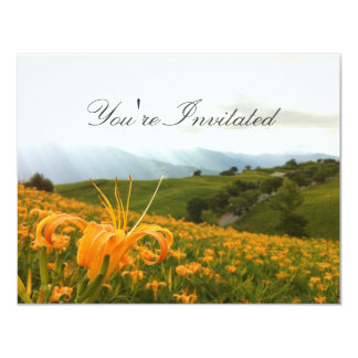 Golden Daylily flower Valley Personalized Invitation