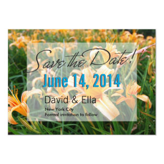 Golden Daylily Flowers Save the Date Announcement