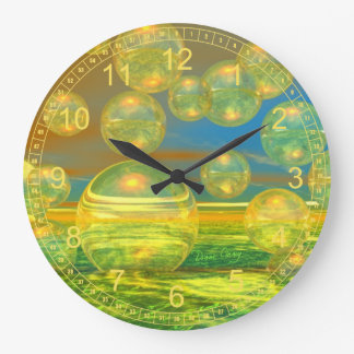 Golden Days - Abstract Yellow & Azure Tranquility Wall Clocks