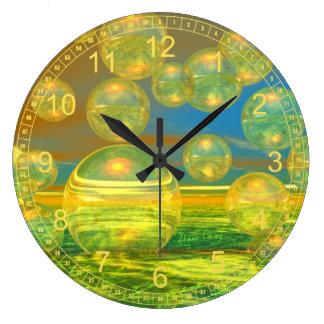 Golden Days - Abstract Yellow & Azure Tranquility Wallclock