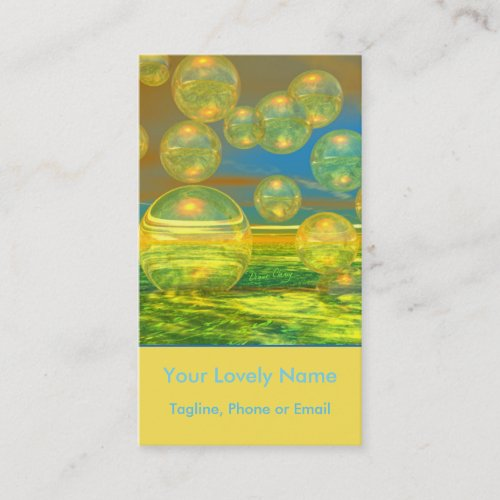 Golden Days, Yellow and Azure Tranquility Bubbles Business Card