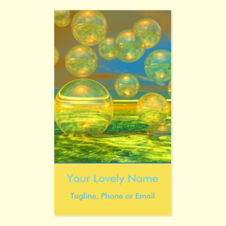 Golden Days, Yellow and Azure Tranquility Bubbles Double-Sided Standard Business Cards (Pack Of 100)