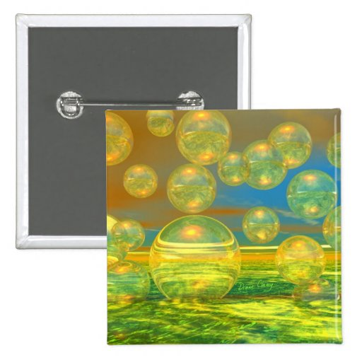 Golden Days - Yellow & Azure Tranquility 2 Inch Square Button