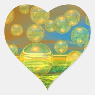 Golden Days - Yellow & Azure Tranquility Heart Sticker