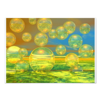 """Golden Days - Yellow & Azure Tranquility 5"""" X 7"""" Invitation Card"""