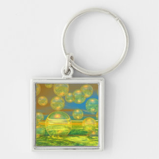 Golden Days - Yellow & Azure Tranquility Silver-Colored Square Keychain