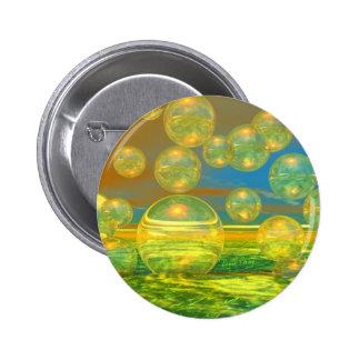 Golden Days - Yellow & Azure Tranquility Pinback Button