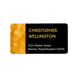 Golden dazzle champagne yellow party address label