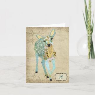 Golden Dearest Deer  Monogram Notecard