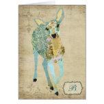 Golden Dearest Deer  Monogram Notecard Stationery Note Card