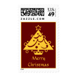 Golden Decorated Christmas Tree Postage Stamp