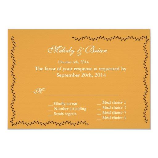 Golden decorative leaves RSVP wedding 3.5x5 Paper Invitation Card