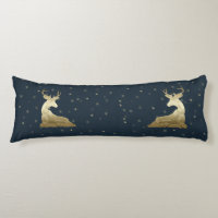 Golden Deer and Snowflakes Body Pillow