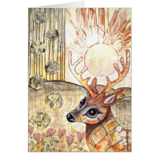 Golden Deer Christmas Greetingcard Card