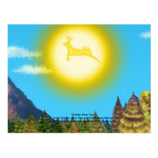 Golden Deer Sun Postcard