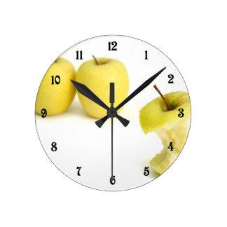 Golden Delicious Apples Round Clock