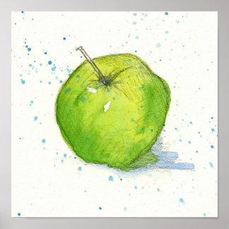 Golden Delicious Green Apple Watercolor Fruit Art Poster