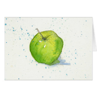 Golden Delicious Green Apple Watercolor Painting Card