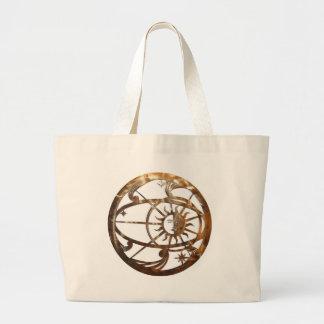 Golden Delicious Pre-Colombian sunburst design Large Tote Bag