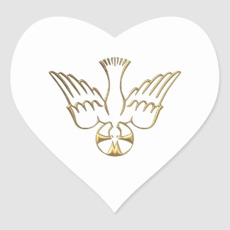 Golden Descent of The Holy Spirit Symbol Heart Sticker