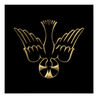 Golden Descent of The Holy Spirit Symbol Posters
