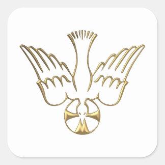 Golden Descent of The Holy Spirit Symbol Square Sticker