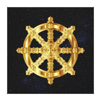 Golden Dharma Wheel Buddhism And Hinduism Symbol Canvas Print