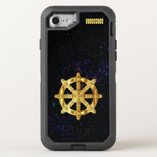 Golden Dharma Wheel Buddhism And Hinduism Symbol OtterBox Defender iPhone 8/7 Case
