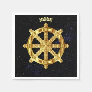 Golden Dharma Wheel Buddhism And Hinduism Symbol Paper Napkin