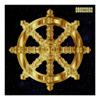 Golden Dharma Wheel Buddhism And Hinduism Symbol Poster