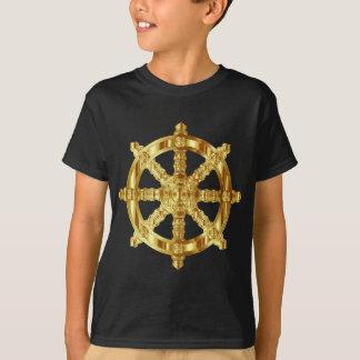 Golden Dharma Wheel Buddhism And Hinduism Symbol T-Shirt