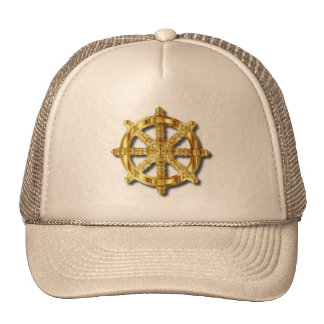 Golden Dharma Wheel Buddhism And Hinduism Symbol Trucker Hat
