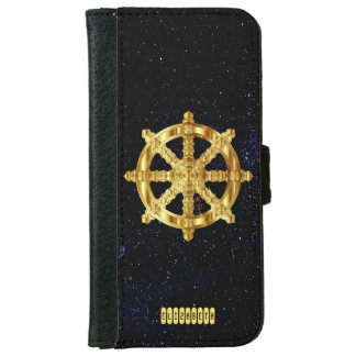 Golden Dharma Wheel Buddhism And Hinduism Symbol Wallet Phone Case For iPhone 6/6s