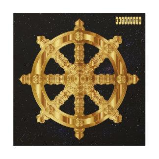Golden Dharma Wheel Buddhism And Hinduism Symbol Wood Print