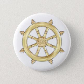 Golden Dharmacakra Button