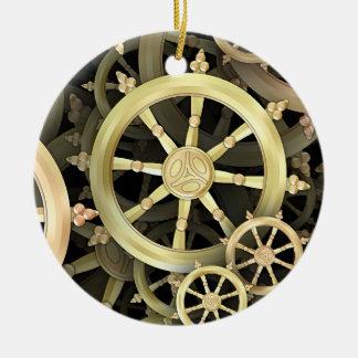 Golden Dharmacakra Ceramic Ornament