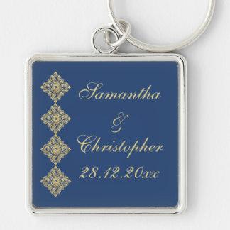 Golden Diamond Damask Blue Wedding Keychain