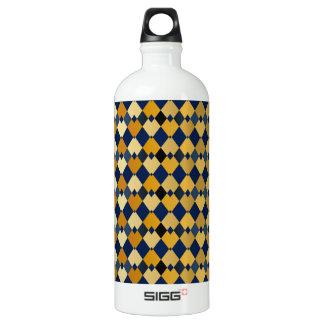 Golden diamonds aluminum water bottle